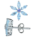 Genuine Blue Topaz & Tanzanite 925 Sterling Silver Flower Stud Earrings