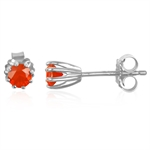 Natural MEXICAN FIRE OPAL White Gold Plated 925 Sterling Silver S...