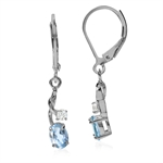 1.12ct. Natural Blue & White Topaz 925 Sterling Silver Leverback Earrings