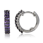 Amethyst Purple CZ 925 Sterling Silver Journey Huggie/Hoop Earrings
