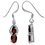 1.06ct. Natural Garnet 925 Sterling Silver Dangle Hook Earrings