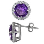 African Amethyst&Topaz White Gold Plated 925 Sterling Silver Stud/Post Earrings