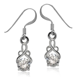 White CZ 925 Sterling Silver Celtic Knot Dangle Earrings