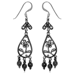 925 Sterling Silver Flower Chandelier Dangle Earrings