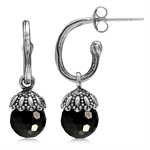 Black Faceted CZ Sphere Ball Balin...