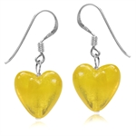 Heart Shape Yellow Crystal 925 Sterling Silver Dangle Hook Earrings