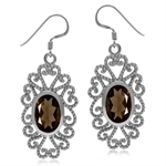 5.44ct. Natural Smoky Quartz White Gold Plated 925 Sterling Silver Victorian Style Dangle Earrings