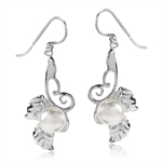 9MM Natural Freshwater White Pearl 925 Sterling Silver Vine & Leaf Dangle Earrings