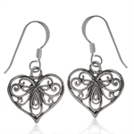 925 Sterling Silver Victorian Style Filigree Heart Dangle Earrings