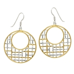 White Diamond 2-Tone Gold Plated 925 Sterling Silver Weave Circle Dangle Earrings