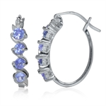 Genuine Tanzanite White Gold Plated 925 Sterling Silver Journey Hoop Earrings