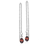 1.08ct. Natural Oval Shape Garnet Sterling Silver Threader Earrings