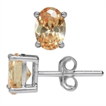 Oval Shape Champagne CZ 925 Sterling Silver Stud Earrings