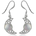 White Mother of Pearl (MOP) 925 Sterling Silver Filigree Moon Dangle Earrings