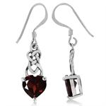 2.76ct. Natural Heart Shape Garnet 925 Sterling Silver Celtic Knot Dangle Earrings