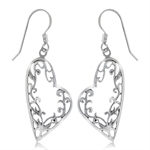 925 Sterling Silver Filigree Heart Leaf Dangle Earrings