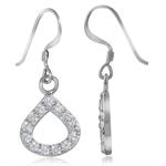 CZ White Gold Plated 925 Sterling Silver Drop Dangle Geometric Earrings