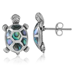 Abalone/Paua Shell Inlay 925 Sterling Silver TURTLE Post Earrings