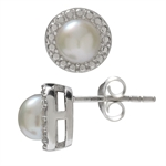 6MM Cultured Pearl White Gold Plated 925 Sterling Silver Stud/Post Earrings
