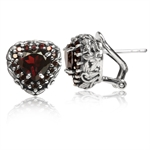 2.94ct. Natural Garnet 925 Sterling Silver Heart & Leaf Vintage Style Omega Clip Earrings