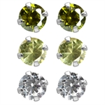6-Piece 5MM White, Lemon & Olive Green CZ 925 Sterling Silver Stud Earrings Set