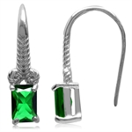 Emerald Green CZ 925 Sterling Silver Rope Hook Earrings