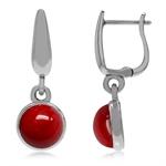 925 Sterling Silver Huggie Hoop Earrings w/ Red Coral Dangle Drop
