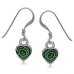 Heart Shape Abalone/Paua Shell Inlay 925 Sterling Silver Drop Dangle Earrings