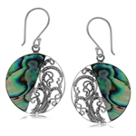 Abalone/Paua Shell Inlay 925 Sterling Silver Circle Filigree Dangle Earrings