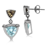 2.88ct. Trillion Shape Genuine Blue Topaz & Smoky Quartz 925 Sterling Silver Dangle Post Earrings