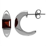 1.74ct. 5MM Natural Square Shape Garnet White Gold Plated 925 Serling Silver C-Hoop Earrings