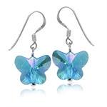 Butterfly Shape Blue Crystal 925 Sterling Silver Dangle Hook Earrings