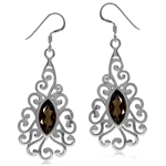 3.02ct. Natural Smoky Quartz White Gold Plated 925 Sterling Silver Victorian Swirl Dangle Earrings