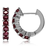 2.24ct. Natural Rhodolite Garnet White Gold Plated 925 Sterling Silver Journey Huggie Earrings