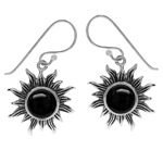 Created Black Onyx 925 Sterling Silver Sun Ray Inspired Dangle Hook Earrings