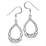 White Gold Plated 925 Sterling Silver Celtic Knot Drop Dangle Hook Earrings