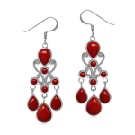 Created Red Coral 925 Sterling Silver Victorian Style Chandelier Earrings