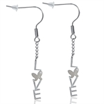 CZ 316L Stainless Steel LOVE & BUTTERFLY Dangle Earrings