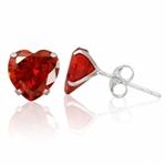 8MM Heart Shape Garnet Red CZ 925 Sterling Silver Stud Earrings