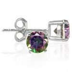 1.2ct. Mystic Fire Topaz 925 Sterling Silver Stud Earrings