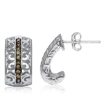 Champagne CZ 925 Sterling Silver Filigree J-Hoop Earrings