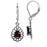 1.74ct. Natural Garnet 925 Sterling Silver Filigree Drop Dangle Leverback Earrings