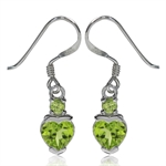 1.52ct. Natural Heart Shape Peridot 925 Sterling Silver Dangle Earrings