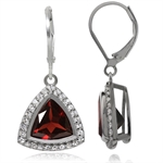 5.18ct. Natural Garnet & Topaz White Gold Plated 925 Sterling Silver Leverback Earrings
