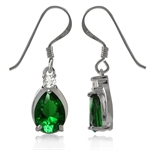 Tsavorite Green& White CZ 925 Sterling Silver Drop Dangle Earrings