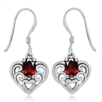 1.18ct. Natural Garnet 925 Sterling Silver Southwest Style Filigree Heart Dangle Earrings