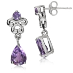2.18ct. Natural Amethyst 925 Sterling Silver Victorian Style Dangle Post Earrings