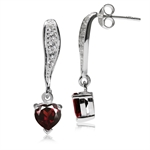 1.68ct. Natural Heart Shape Garnet & White Topaz 925 Sterling Silver Dangle Post Earrings
