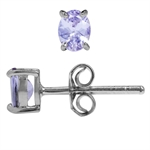 Genuine Tanzanite White Gold Plated 925 Sterling Silver Stud Earrings