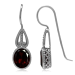 4.18ct. Oval 9MM*7MM Natural Garnet Gold Plated 925 Sterling Victorian Style French Hook Earrings